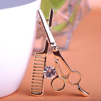 Comb & Scissors Brooch