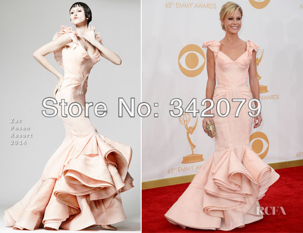 ph12119 Julie Bowen 2013 Emmy Awards mermaid gown with a wonderfully dramatic hemline Nude satin dresses new years eve 2013(China (Mainland))