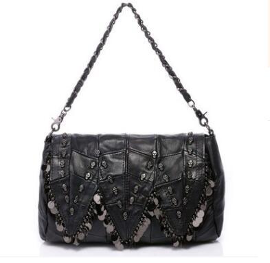 Genuine leather sheepskin women's messenger bag punk style skull shoulder bag female vintage small bags()
