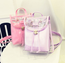 Free shipping / 2015 new  Summer / Candy-colored / women bag / transparent small double backpack /Lovely Ladies /small fresh bag