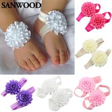2Pcs Baby Infant Toddler Girl Ribbon Flowers Barefoot Sandals Sock Toe Shoes 9IH1(China (Mainland))