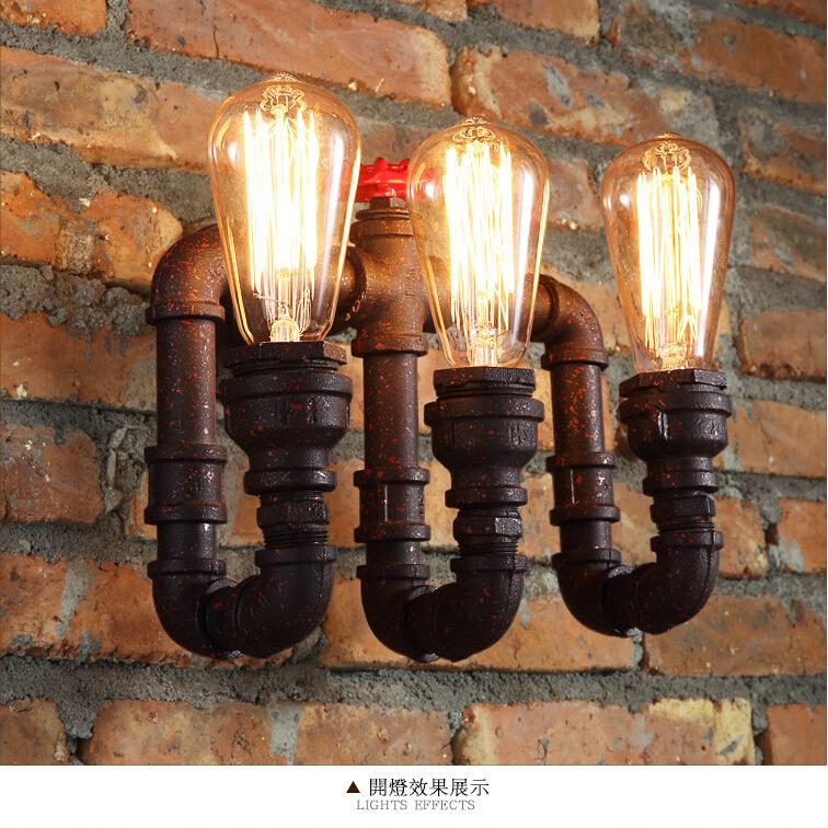Фотография Loft Retro Water Pipe Wall Sconces Bronze Industrial Wall Lamp 3 Head E27 Dining Room Lighting Decor Drop Shipping