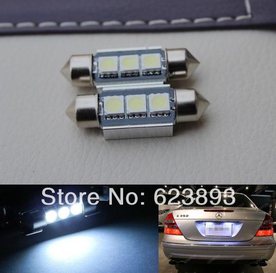 Free shipping,2x super bright White 36MM SMD LED License Number Plate Light Bulbs Canbus Xenon White 6000K VW Passat B5 B6(China (Mainland))
