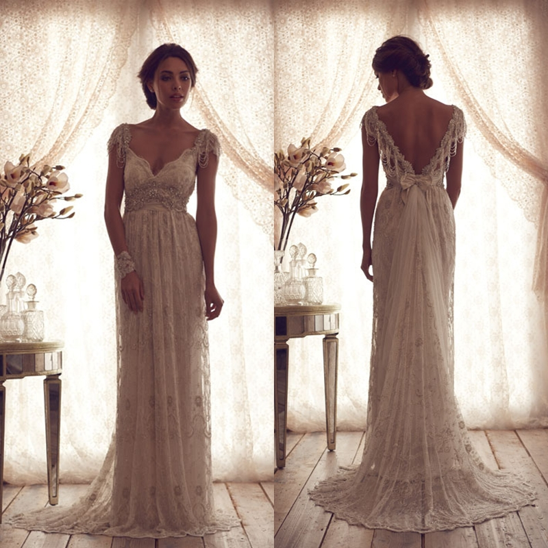 V neck cap sleeves beaded appliqued lace wedding dresses for Beaded low back wedding dress