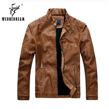 2016 New Mens Winter Thickness Leather Jackets Mens British Mandarin Collar Solid Motorcycle Leather Jackets and Coats(China (Mainland))