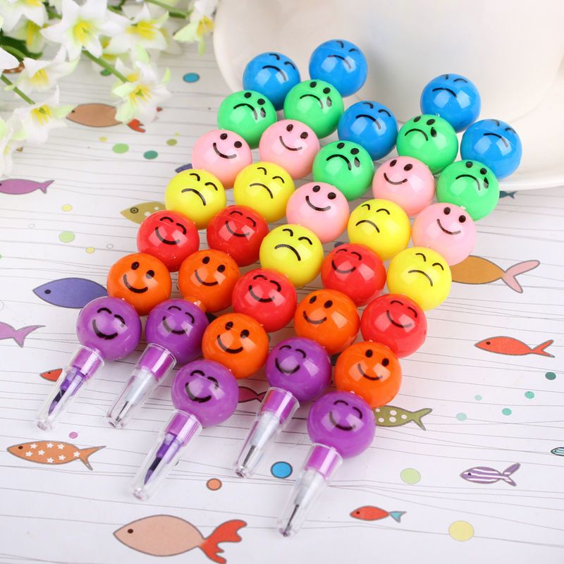 5 Pcs 7 Colors Cute Stacker Swap Smile Face Crayons Children Drawing Gift Hot Selling S9(China (Mainland))