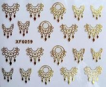 DIY gold design Water Transfer Nails Art Sticker decals lady women manicure tools Nail Wraps Decals