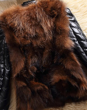 Fur Story 151220 2015 Winter Women's Raccoon fur Jacket with Genuine Sheep leather Sleeve Fashion Natural Fur Coat Female(China (Mainland))