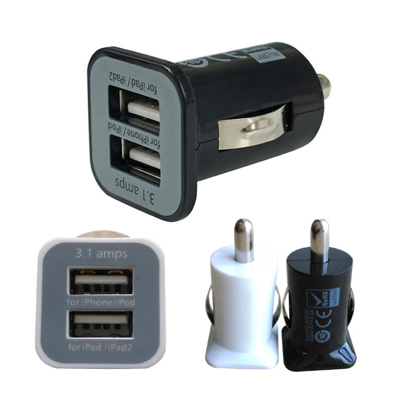 Micro Auto Universal Dual 2 Port USB Car Charger For iPhone iPad iPod 3.1A Mini Car Charger Adapter / Cigar Socket Black 2MHM109(China (Mainland))