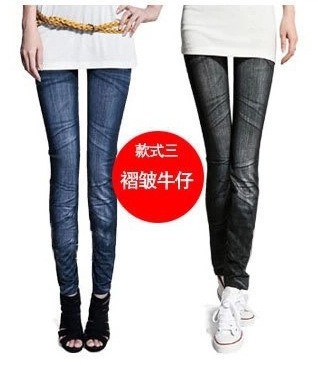 The spring of 2015 the new women's wear Seamless printed stretch imitated jeans Han edition leggings Nine minutes of pants(China (Mainland))