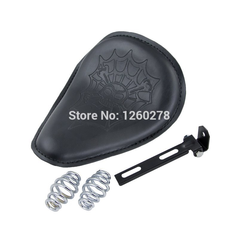 Motorcycle Leather Chrome Spring Solo Motorcycle Seat For Harley Davidson Fat Boy Streel Glide<br><br>Aliexpress