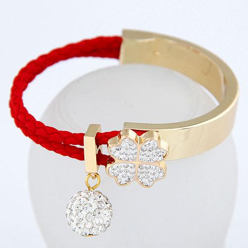 2015 Sweet Clover Simple Bead Bracelet Crystal Joker Bangle For Woman Fashion Jewelry Wholesale(China (Mainland))