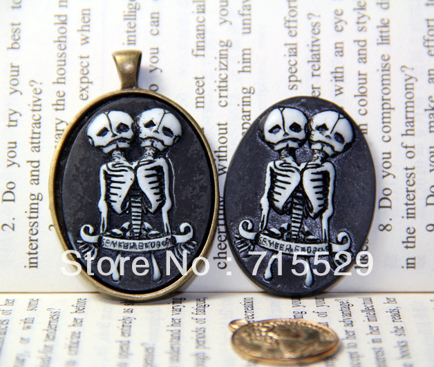 Freeshipping 30*40mm Resin Twin Skull Cameo Cabochon 9colors Jewelry Decoration Accessory for Necklace Pendant 30pcs/lot