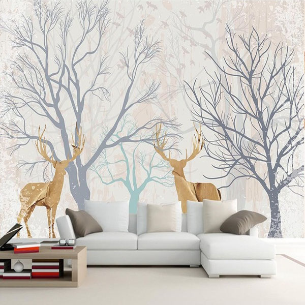 Customized home decor mural living room wallpaper deer forest American garden wall paper 1x3m(China (Mainland))