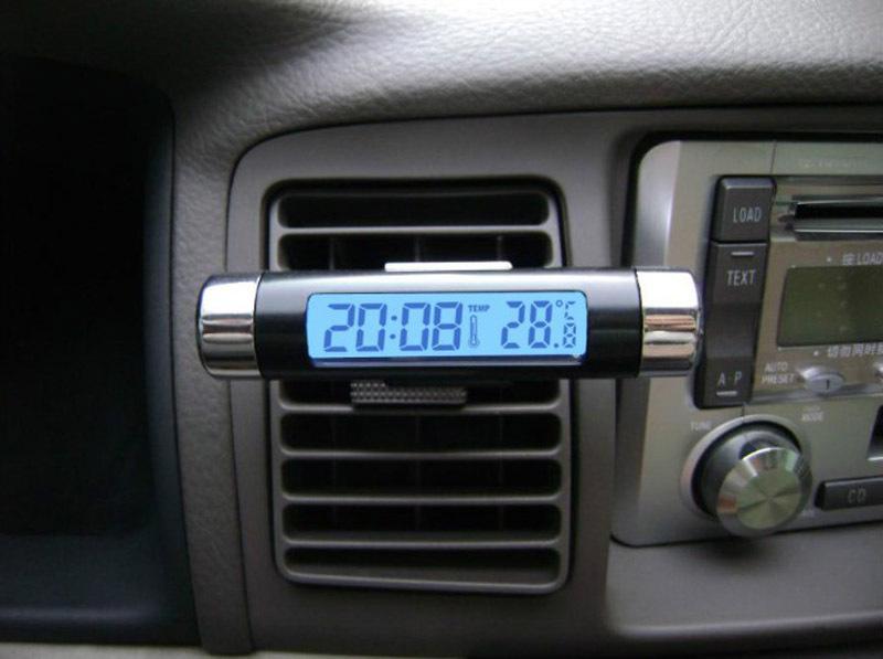 Automotive Digital Car Electronic Clock Calendar LCD Blue Backlight Watch Thermometer Clip Luminous Temperature Gauge - Auto Accessories Zone store