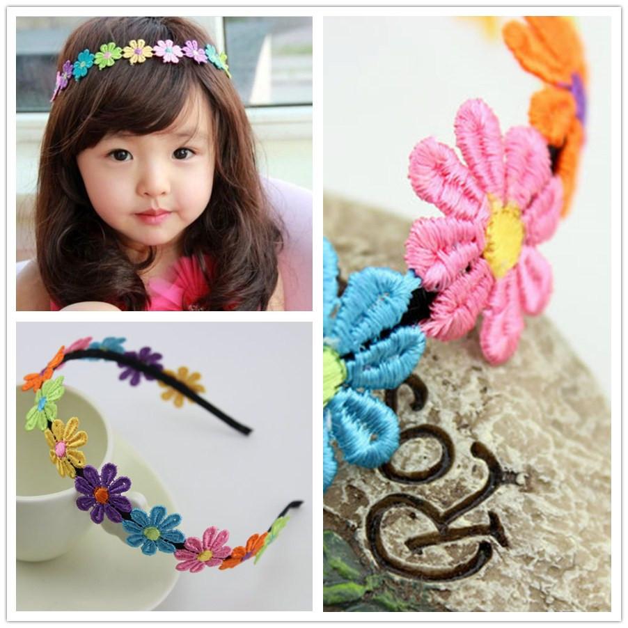 2015 fashion mini colourful lace flower hairband metal girl sunflower headband children Hair Accessories free shipping(China (Mainland))