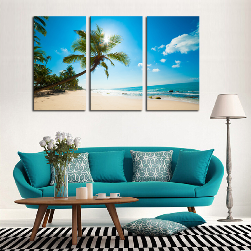 Unframed 3 panels Hot SellBeautiful beaches Modern Home Wall Decor painting Canvas printing Art HD printing Painting