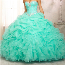 Hot sale Quinceanera Dresses 2015 Organza Ball Gown Sweetheart Crystal sweet 16 dress sweet 15 gowns  vestidos de 15 ST001QU(China (Mainland))