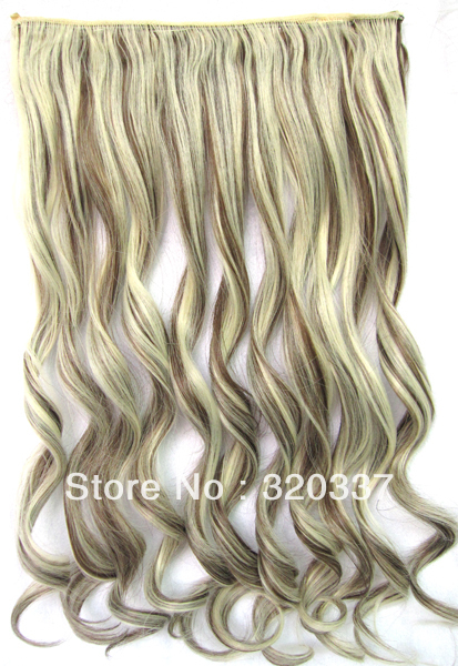 Heat Resistant Hairpieces Clips in Synthetic Hair Extension Wavy Highlighted Hair Clip in Hair Extensions #8/613 Brown &amp; Blonde<br><br>Aliexpress