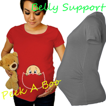 """Peek A Boo"" 2015 New Maternity Shirt specialized for pregnant women plus size European big size XXL(China (Mainland))"