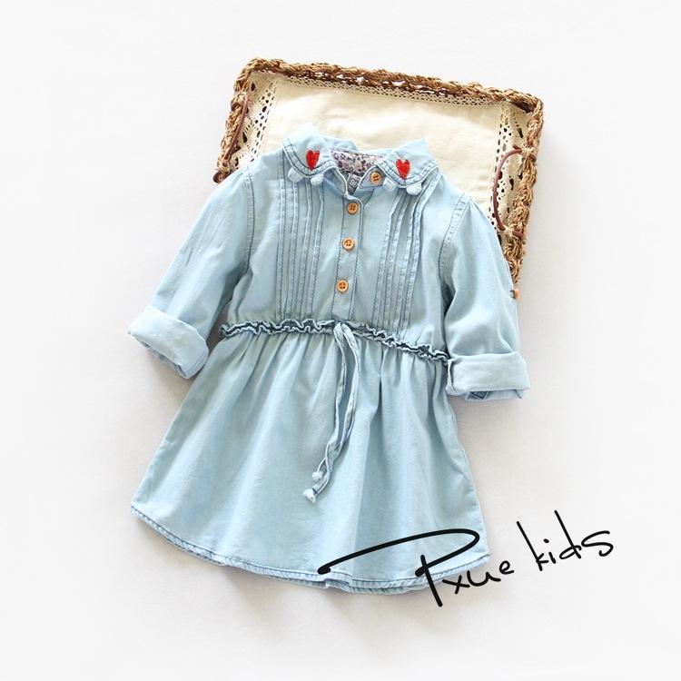 Girls love embroidery lapel wild long-sleeved denim waist dress Korean childrens clothing wholesale for 2-8T 6pcs/lot<br><br>Aliexpress