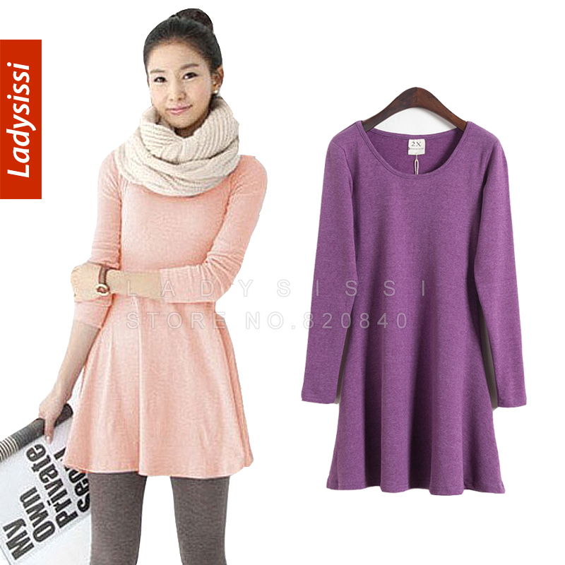 2015 autumn winter casual dress 100 cotton female woolen