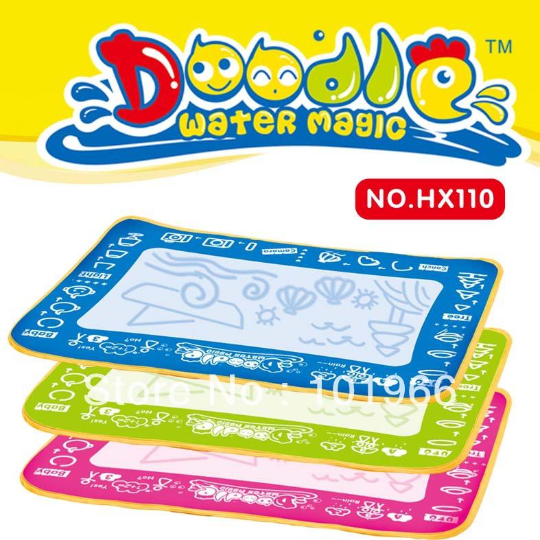 Free Shipping 4PCS/Lot Rainbow Aquadoodle Doodle Water Magic Drawing Mat+1 Water Pen Drawing Toys Dropshipping(China (Mainland))