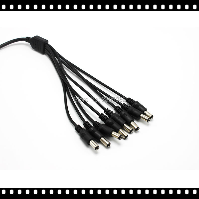 8 way 2.1mm x 5.5mm DC Power Lead CCTV Camera Splitter 1 PSU to 8 Devices Cable Free Shipping(China (Mainland))