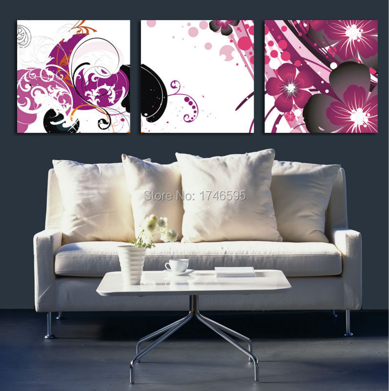 Buy 3pcs Big Size Abstract Purple Wall