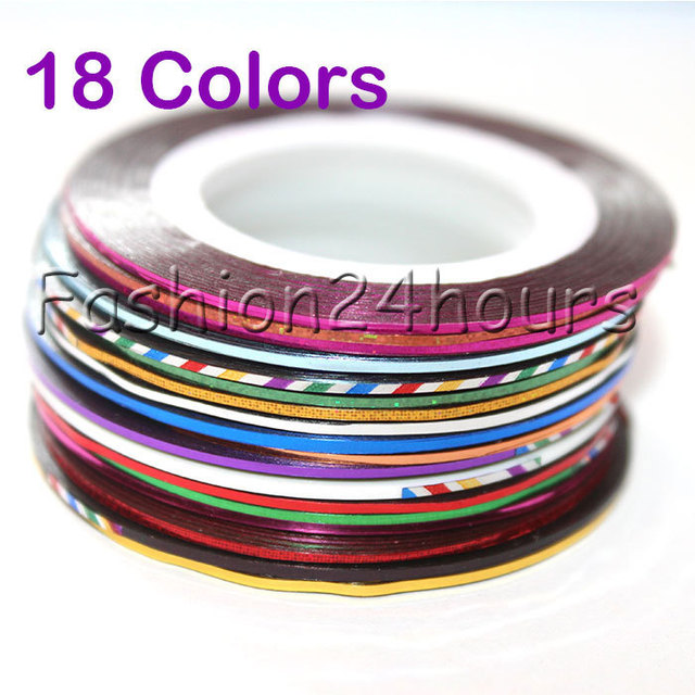 New 18 Color Rolls Striping Tape Metallic yarn Line Nail Art Decoration Sticker Free Shipping