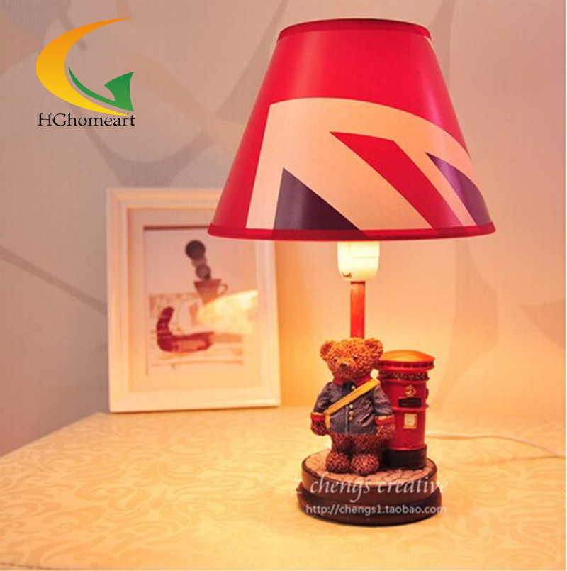 Children's room cartoon bear resin table lamp desk lamp creative fashion cute simple gift for kids(China (Mainland))
