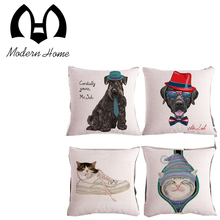 Cartoon dog cat hat cushion cover