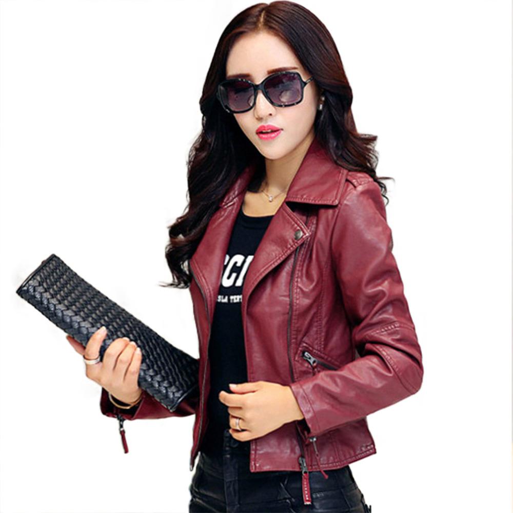 Hot New 2015 Women Faux Leather Jackets jaqueta couro Winter Coat veste en cuir femme Black Red Biker Motorcycle Jacket Cheap Z1