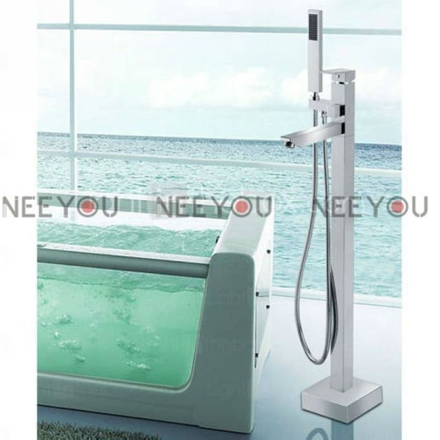 Free Stand Shower Faucet Set  Solid Brass Frool Stand Bathtub Faucets Chrome Bathroom Mixer Tap NY51022 Free Shipping