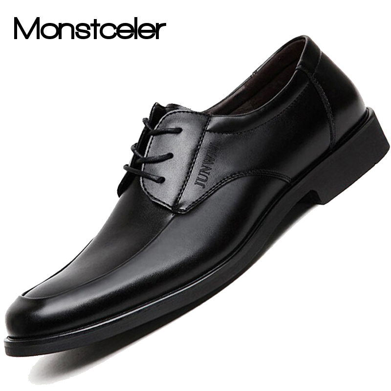 large size 45 46 47 black pu leather oxford shoes