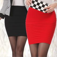 Mais barato Frete Grátis Nova Moda 2016 Mulheres Saias de Cintura Alta Doce Cor de Verão Plus Size Elástica Plissada Curta Saia BK001