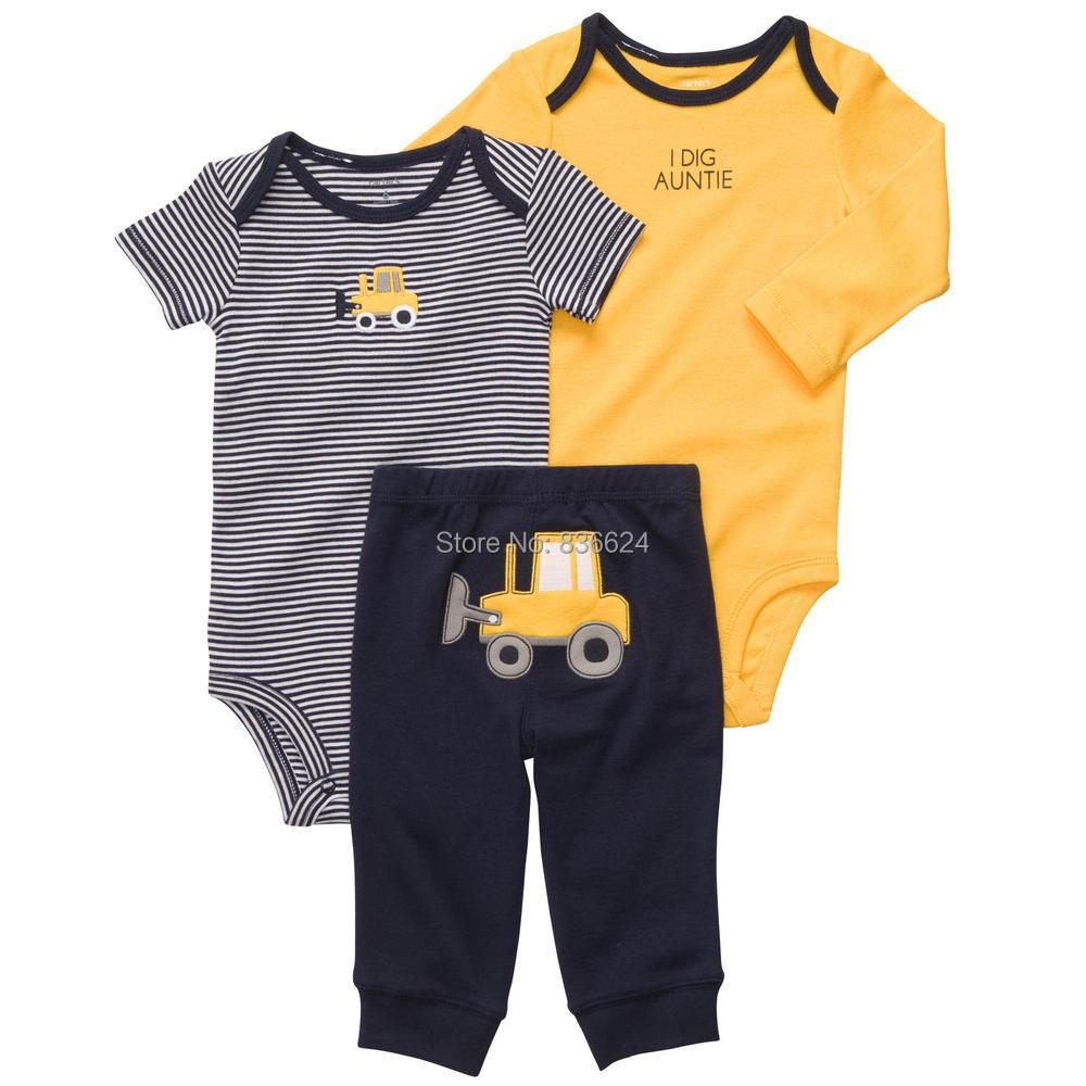 S-Yellow truck 3pcs set, New Original Carter's Baby Clothing Set Baby Romper Carters Bodysuits Bebe Boys Jumpsuits,Freeshipping(China (Mainland))