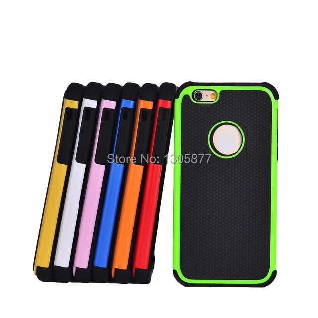 new high quality color for iPhone6 case 4.7 inch Soft Silicone Case + PC hard shell cover popular brands presented screensavers(China (Mainland))