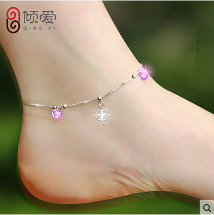 Free lettering 925 silver anklets female Clover mean Love Health Wealth honor Purple Crystal foot jewelry With certificateank18(China (Mainland))