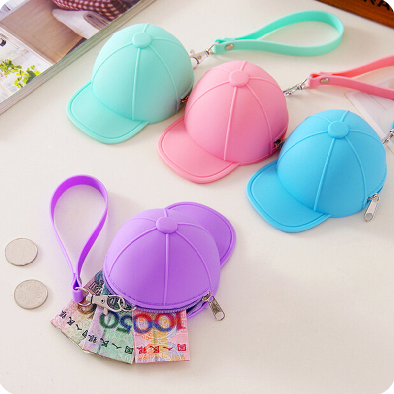 Hot Sale Funny Baseball Cap Candy Color Silicone Bag Girls Coin Purse Mini Silicone Round Wallet Key Money Pouch 11.5*8.5*6.5cm(China (Mainland))