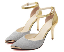 Red bottom High Heels Women Pumps Glitter High Heel Shoes Woman Sexy Wedding Party Shoes Gold Silver Blue#WYL110(China (Mainland))