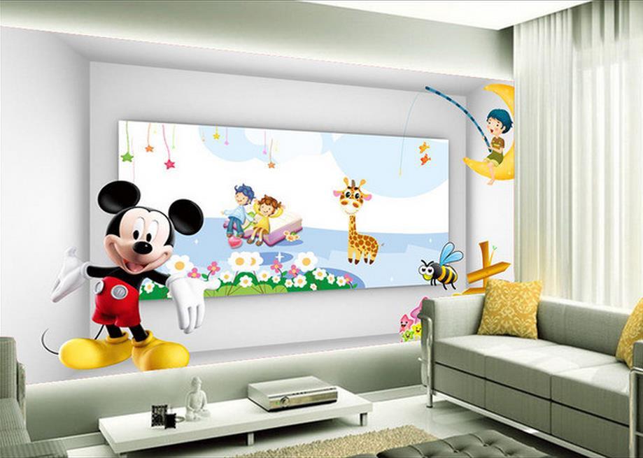 Custom 3d photo wallpaper Non-woven wallpaper The lovely Mickey Mouse cartoon TV setting wall wallpaper(China (Mainland))