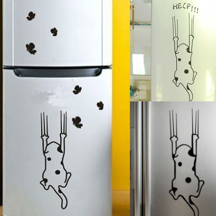 Cartoon Cat Pattern Refrigerator Kitchen Cabinet Wall Stickers Furniture Glass Stickers Decals Home Decor COLL-WS-001906(China (Mainland))