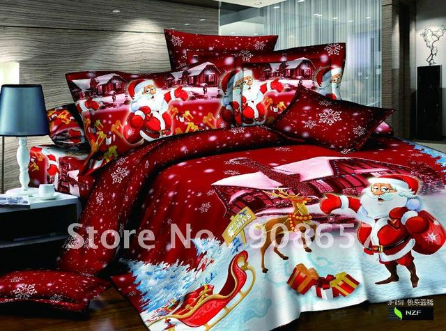 Egyptian cotton printed bedroom red cartoon quilt/duvet covers sets Christmas bedding sets for home textile queen/full comforter