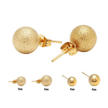 gold plated ball stud earrings with balls in stainless steel gold(China (Mainland))