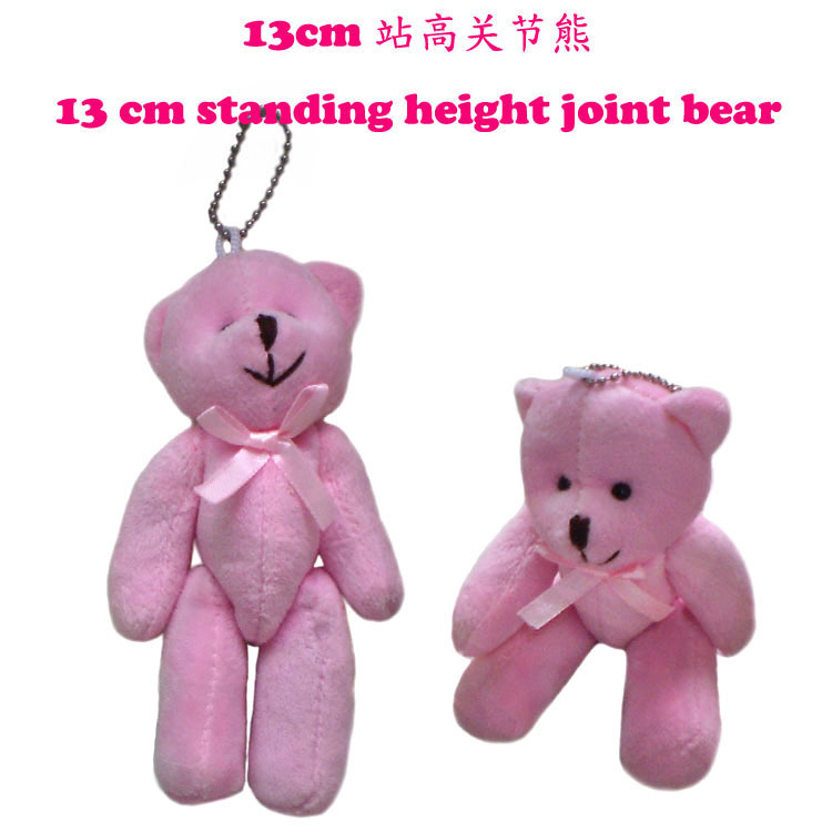 Free Shipping 13cm Mini Teddy bear with bow stuffed toy valentine gift hot sale with high quality 2015 New arrival(China (Mainland))
