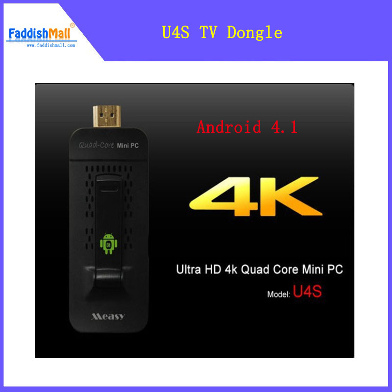 Measy U4S Android TV Stick Quad Core Mini PC A31S 2K*4K HD Android 4.1 TV Box 3D Wifi HDMI 1.4 Bluetooth 4.0 Media Player(China (Mainland))