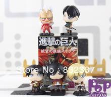 High Quality Japanese Anime Cartoon Attack on Titan PVC action figure Shingeki no Kyojin Eren Mikasa 5pcs/set [Free Shipping]