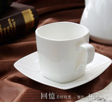 15 piece high grade pure white color bone china Coffee cup and saucer Korean style square
