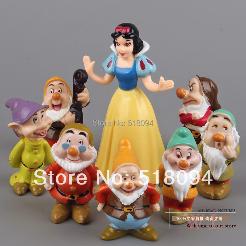 Princess Snow white and the Seven Dwarfs PVC Action Figures Dolls Toys 8pcs/set SEFG001(China (Mainland))